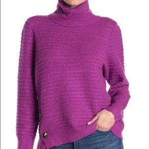 MELLODAY Ribbed Turtleneck Button Hem Sweater